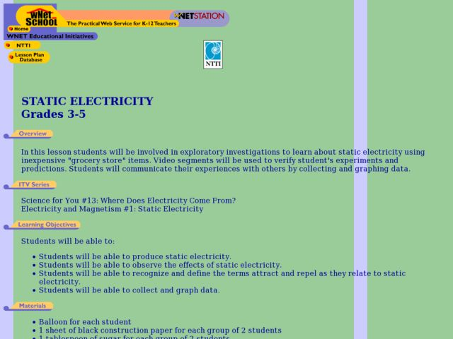 Static Electricity - Grocery Store Items Lesson Plan