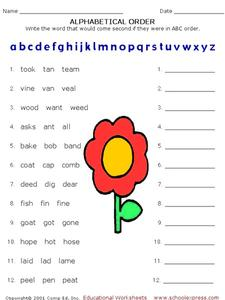 Alphabetical Order Worksheet