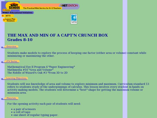 the Max And Min of a Capt'n Crunch Box Lesson Plan