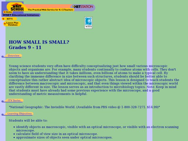 How Small is Small? Lesson Plan