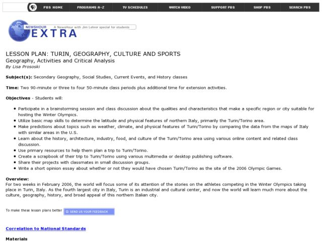Turin, Geography, Culture And Sports Lesson Plan