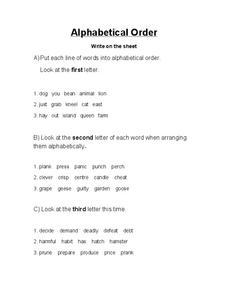 Alphabetical Order Lesson Plans & Worksheets | Lesson Planet
