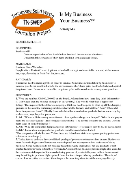 Is My Business Your Business? Lesson Plan