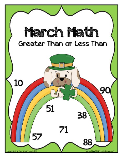 March Math: Greater Than or Less Than Activities & Project