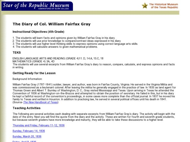 The Diary of Col. William Fairfax Gray Lesson Plan