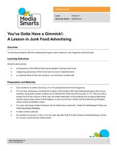 You've Gotta Have a Gimmick!: A Lesson in Junk Food Advertising Lesson Plan