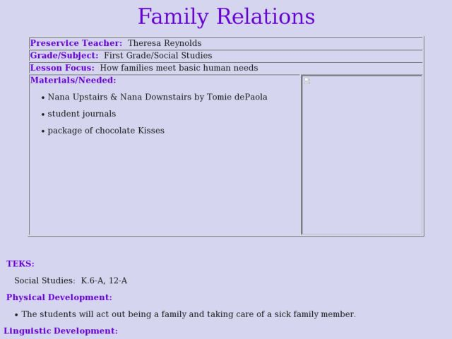 Family Relations Lesson Plan