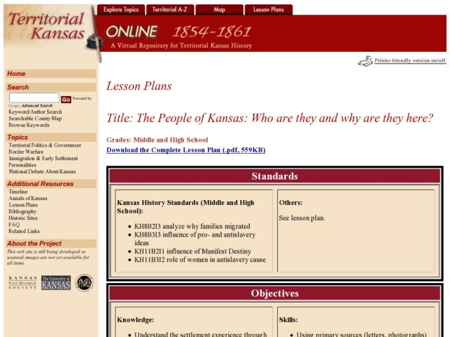 The People of Kansas Lesson Plan