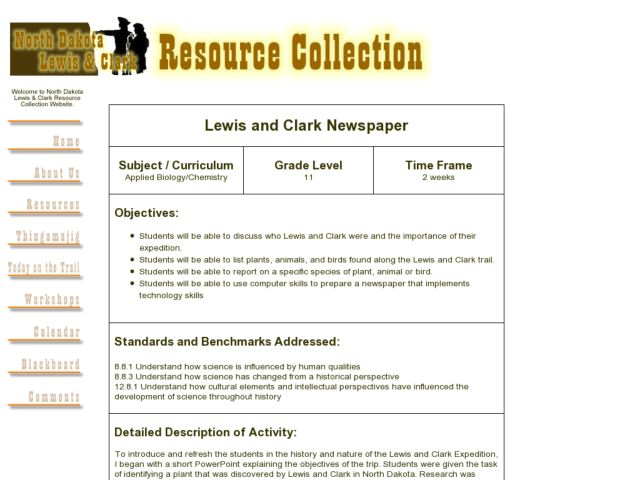 Lewis and Clark Newspaper Lesson Plan