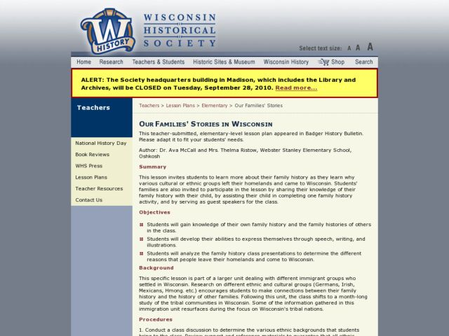 Our Families' Stories in Wisconsin Lesson Plan