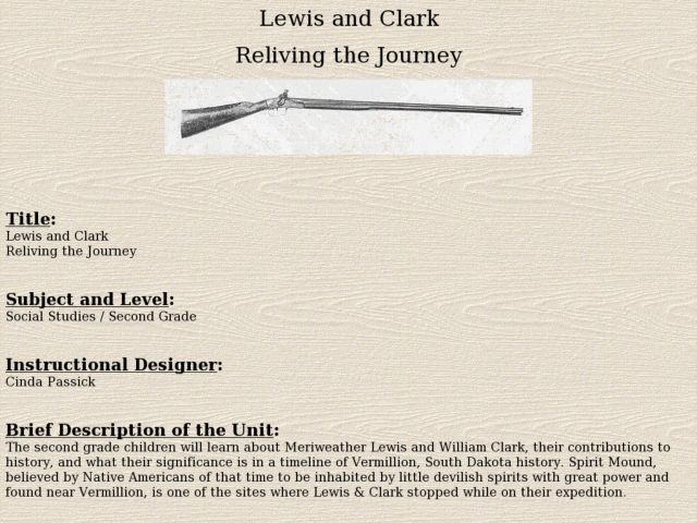 Lewis and Clark:  Reliving the Journey Lesson Plan