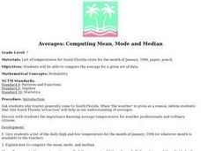 Averages: Computing Mean, Mode and Median Lesson Plan