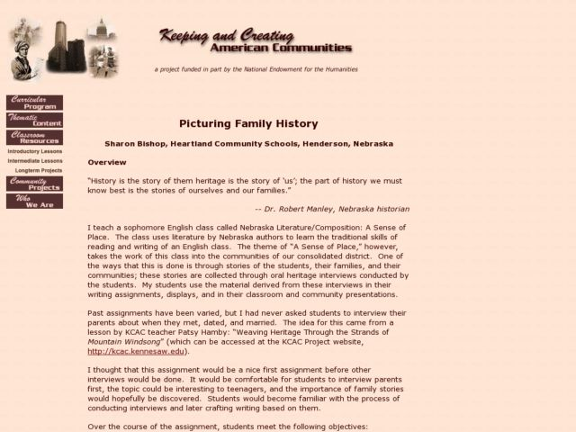Picturing Family History Lesson Plan