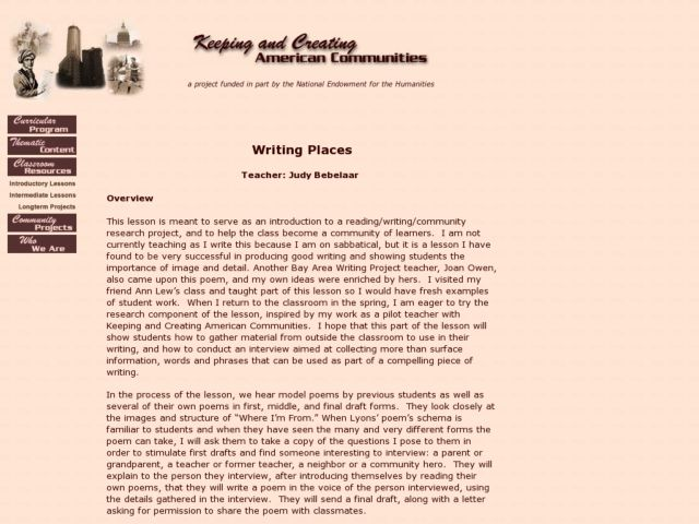 Writing Places Lesson Plan