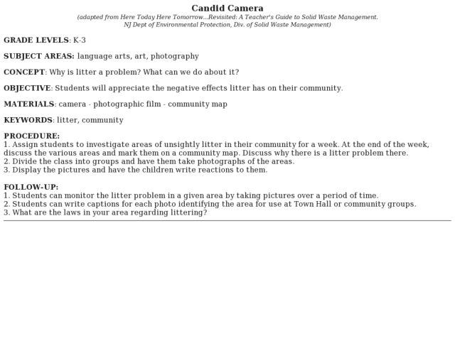 Candid Camera Lesson Plan