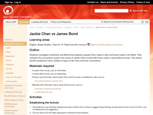 Jackie Chan and James Bond Movies Lesson Plan