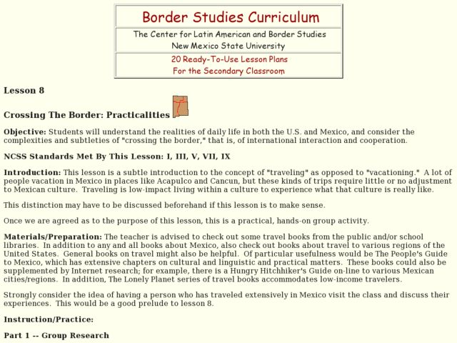 Crossing the Border: Practicalities Lesson Plan
