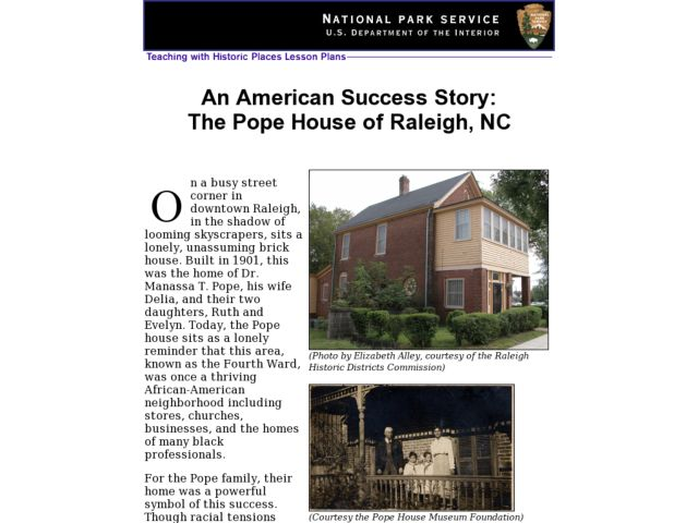 An American Success Story:  The Pope House of Raleigh, NC Lesson Plan