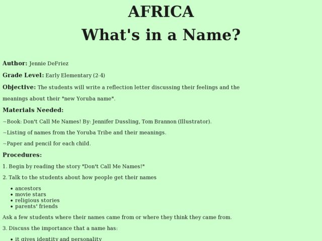 Lesson Plan - Africa: What's in a Name Lesson Plan