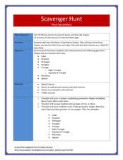 Scavenger Hunt! Lesson Plan