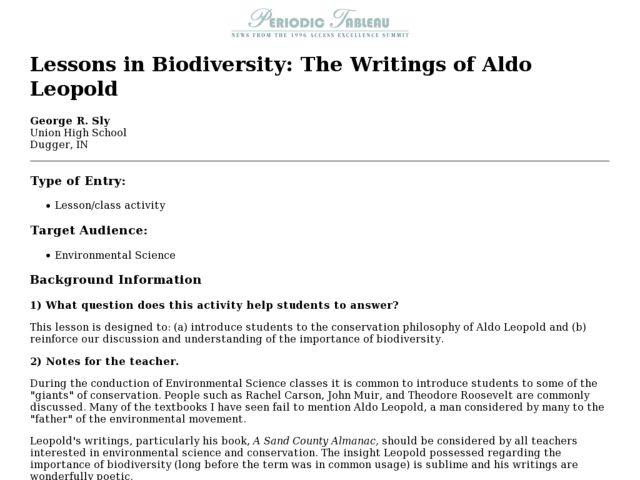 Lessons in Biodiversity: The Writings of Aldo Leopold Lesson Plan
