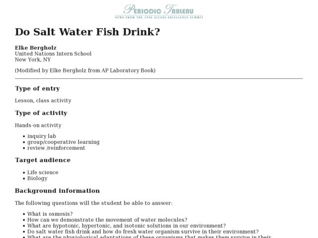 Do Salt Water Fish Drink? Lesson Plan