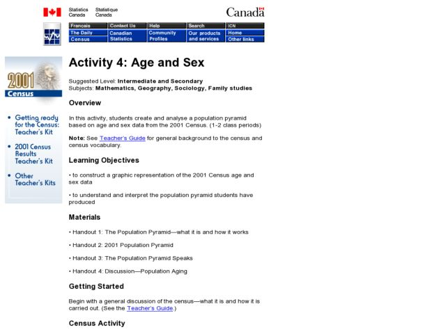 Age and Sex Lesson Plan