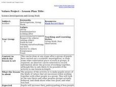 Science Investigations and Group Work Lesson Plan