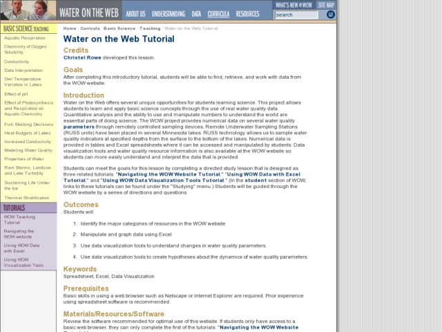 Water on the Web Tutorial Lesson Plan