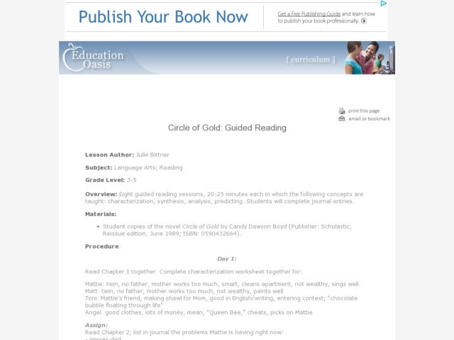 Circle of Gold: Guided Reading Lesson Plan