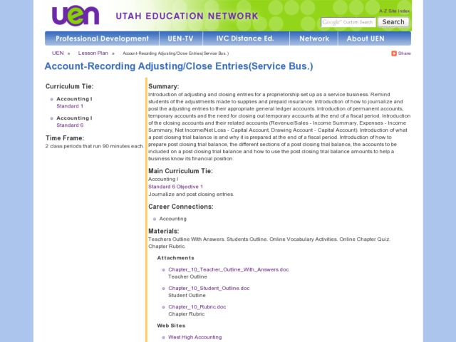 Account-Recording Adjusting/Close Entries(Service Bus.) Lesson Plan