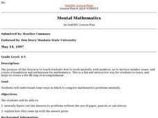 Mental Mathematics Lesson Plan