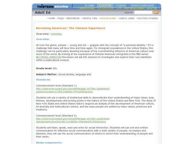 Becoming American: The Chinese Experience Lesson Plan