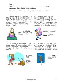 Amusement Park Basic Word Problems Worksheet