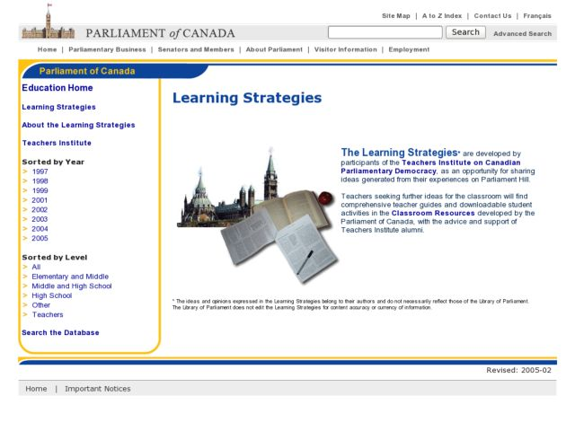 Distance Learning Interaction with Canada's Parliament Lesson Plan