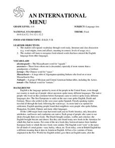 AN INTERNATIONAL MENU Lesson Plan