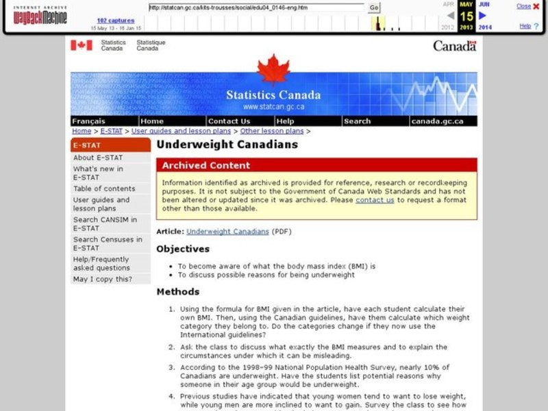 Underweight Canadians Lesson Plan