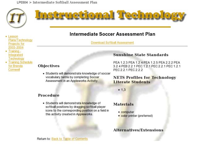 Intermediate Soccer Assessment Plan Lesson Plan