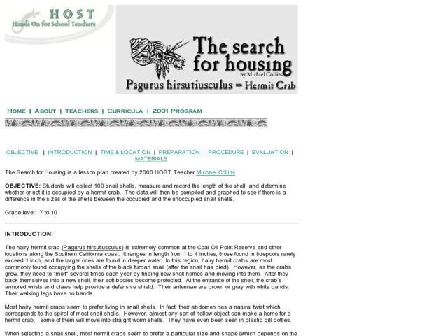 The Search for Housing Pagurus hirsutiusculus= hermit crab Lesson Plan