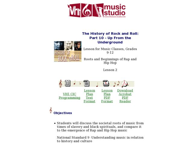The History of Rock and Roll: Part 10 - Up From the Underground - Lesson 2 Lesson Plan