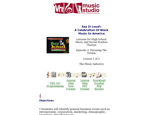 Say It Loud!: A Celebration Of Black Music In America - Lesson 1 Lesson Plan