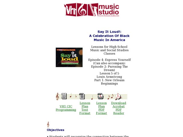 Say It Loud!:  A Celebration Of Black Music In America Music In America Lesson Plan