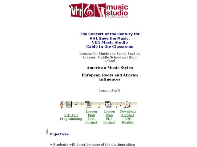 American Music Styles: European Roots and African Influences - Lesson 3 Lesson Plan