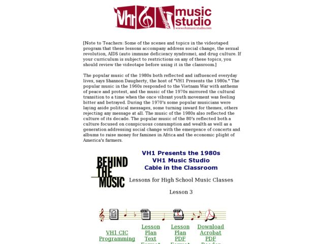 VH1 Presents the 1980s - Lesson 3 Lesson Plan