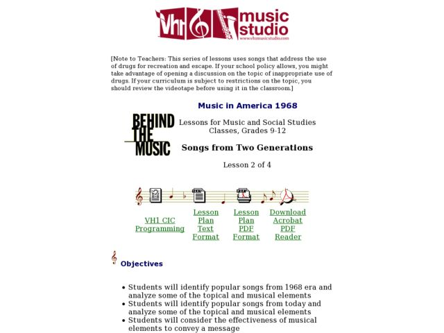 Songs from Two Generations - Lesson 2 Lesson Plan