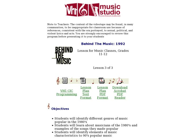 Behind The Music: 1992 Lesson Plan