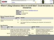Where's King Solomon when we need him?: Good decisions on resources Lesson Plan
