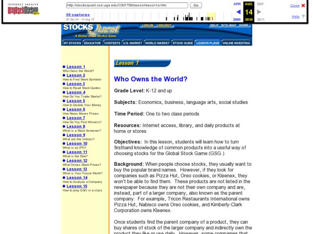 Lesson 1 Who Owns the World? Lesson Plan