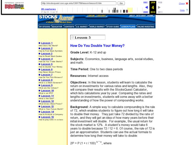 How Do You Double Your Money? Lesson Plan