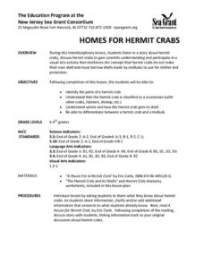 Homes for Hermit Crabs Lesson Plan